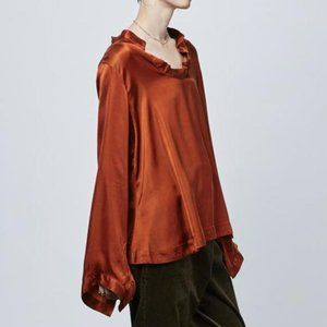 Hannes Roether Mishy Open Neck Blouse Copper Cupro